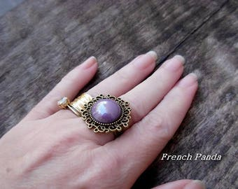 """Bronze Adjustable ring """"Pearly purple"""""""