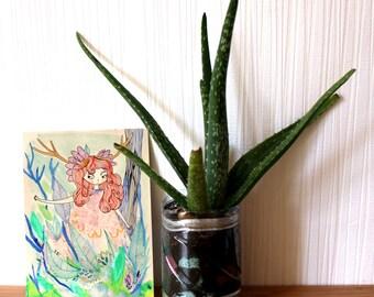 Ilustración original, A5 * poesía en el bosque *, papel, mujer, poesía de la naturaleza, verde, rosa, planta, de carácter bohemio, hippie, espíritu