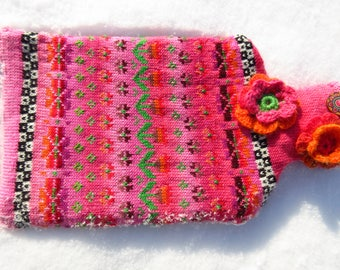 Colorful hot water bottle pink Spring Kiss