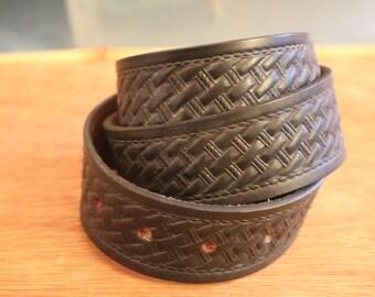 Vintage New Black Leather Belt Sz 36