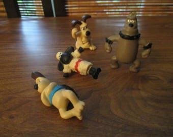 Wallace and Gromit Figure Set / Pencil toppers-  Gromit x 2, and Cyber Dog, Shaun the Sheep