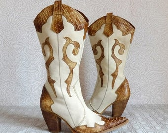 SALE 15% Genuine Leather and Canvas Cowboy Boots Beige Canvas and Brown Leather  Women's Western Boots Riding Heel Zip Up EU 37 Made in Ital