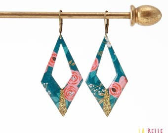 Argyle blue floral pattern and glitter resin earrings