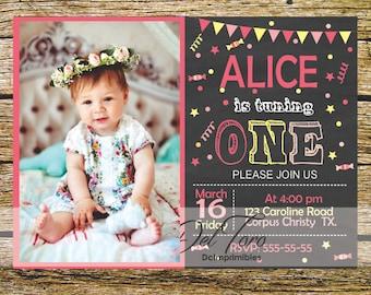 Invitation birthday Board, Digital, printable, girl.