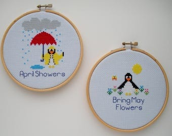 April Showers Bring May Flowers Cross Stitch PDF Pattern - Set of 2 Penguin Cross Stitch Patterns - Instant Download - Printable Pattern