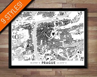 Buildings of Prague map art | Printable Czech Republic map print, Prague print, Prague poster, Prague art, Prague wall art, Printable poster