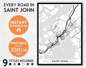 Saint John map print, Printable New Brunswick map art, Saint John print, Saint John art, Saint John poster, Saint John wall art, Canada map