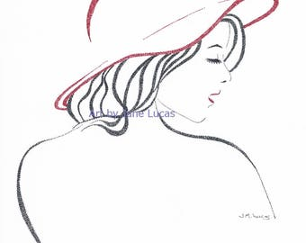 A Hint of Red - Digital Download Printable Art - Woman, Redhead, Lipstick, Face, Hat, Drawing, Pointillism, Pen, Ink  Print Your Own Artwork