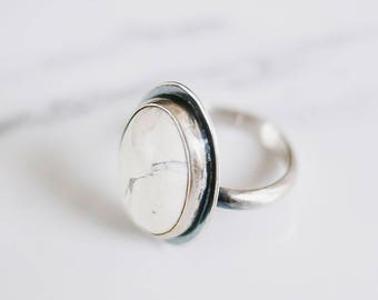Howlite ring, stone ring, silver ring, sterling ring, handmade, statement ring, handmade ring, large ring