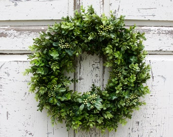 Boxwood  Wreath, Greenery Wreath, Year Round Wreath, Summer Wreath, Door Wreath, Natural Wreath, Fixer Upper Wreath, Everyday Wreath