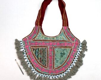 Handmade Ethnic Designer Tribal Banjara Patchwork Embroidered Hippy Fashionable Stylish Trendy Hippie Gypsy Boho Bohemian Shopper Bag F172