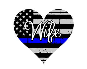 Thin Blue Line Heart Wife- Police Wife Decal