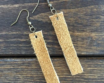 Buffalo Hide Leather Earrings