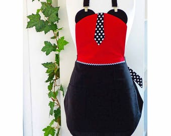 Red and black kitchen apron