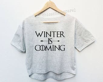 Winter Is Coming Shirt Crop Top Tumblr Hipster T-shirt Woman