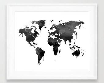 Black World Map, Black Globe, Travel art, World, Map, World Map Wall Art, Printable Map, Travel Print, World Map Art, Printable World Map