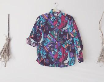 80s Southwest 8 bit Pattern Shirt