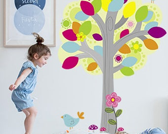 Tree Wall Decal, Tree Wall Decals, Tree Decal, Tree Vinyl Wall Decal, Nursery Tree Decal, Tree Stickers, Nursery Wall Decals, Tree Sticker