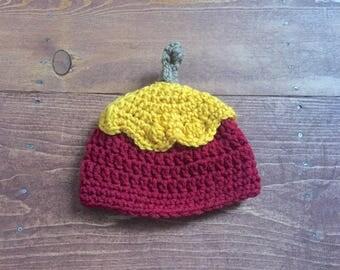 Caramel Apple crocheted newborn hat