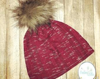 Baby hat, beanie hat, knit hat, puffball hat, faux fur puffball, kids hat, winter hat, kids knit hat, slouchy beanie, kids beanie