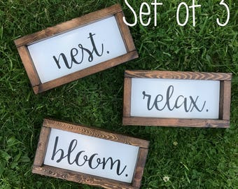 """SET OF 3 - Nest. Relax. Bloom. Wood Signs with Frames (4""""x8"""" each)"""