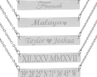Silver bar necklace  Bar Necklace  Gold Bar Necklace Personalized Name Plate Necklace Gold Name Bar Necklace,  Famous Bar Necklace