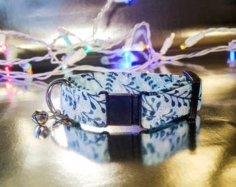 Cute Sparkle/Glitter Blue with Twigs and Berries Patter Cat Collar- Winter/Holiday/Christmas Collection
