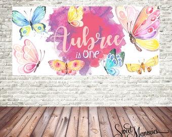 Butterfly Backdrop, Butterfly Birthday Banner, Butterflies Poster, Butterfly Printable Backdrop, Water Colour Butterflys, Digital File