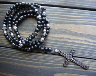 Mens rosary black onyx Catholic Rosary beads Rosary necklace men Jewelry gemstone Rosary stone Pendant cross Crucifix Free Shipping Rosaries