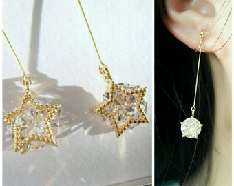 Long Dangle CZ Crystals Invisible clip on earrings,Gold,CZ crystal with star frame,Dangle clip on earrings, Non Pierced earrings