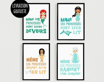 PROMO: Set of 4 Posters 21x30cm quotes Princess (version 2) - poster for child for frames room decoration