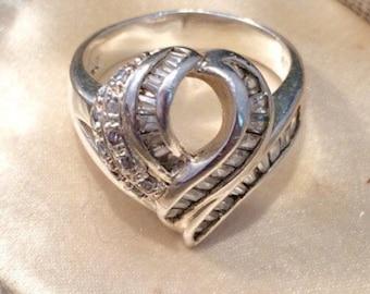 Vintage Silver Ring, Vintage Paste Ring, Diamond Paste Ring, Paste Ring, Vintage Silver Ring, Silver Ring, Statement Ring, Vintage Jewelry