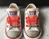 Bling Customised Named Red Charm Beads Infants CONVERSE All Star Trainers 310