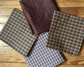 Christmas Plaid Quilting Fabric Poly-Cotton Reminants