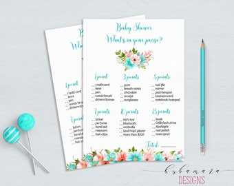 Mint Whats in your Purse Baby Shower Game Floral Mint Coral Baby Shower Activity Digital Shower Card Printable Baby Shower Flowers - CG011