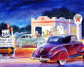 Texaco On Route 66 Bridge Out Gas Station Reproduction  - Jack Schmitt Artwork on Metal Sign