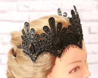 Clothing gift Black Crown  Queen Lace Crown sexy festive accessory Halloween Costume Headpiece Swan Fascinator Mistress Black fascinator