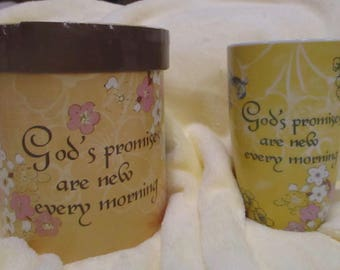 Coffee or tea cup. yellow Floral with saying. Closeout