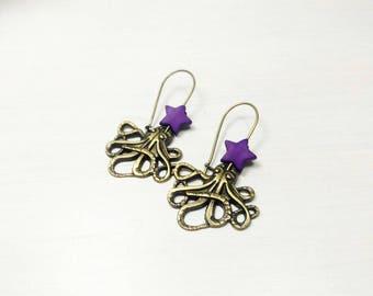 Boucles d'oreilles steampunk - Octopus pieuvre