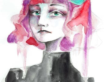 Art Print - Woman with Pink Hair and Roses