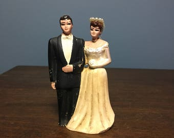 Vintage 1940's Broken Bisque Wedding Cake Topper Bride and Groom (CT #19)