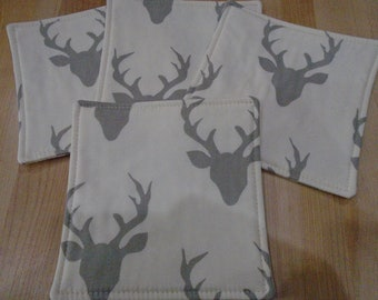 "Elk Coasters,Set of 4 Coasters,Deer Coasters,Mug Rugs,Gray Coasters,Forest Decor,Coasters,Drink Coasters,Mini Mats,5"" Mats,Elk,Deer"