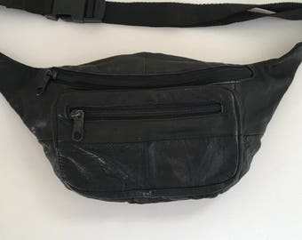 Vintage Black Leather Fanny Pack Bum Bag Waist Pack