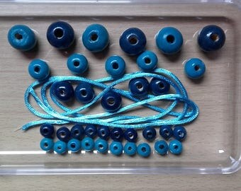 LOT X 36 with cord blue wooden beads