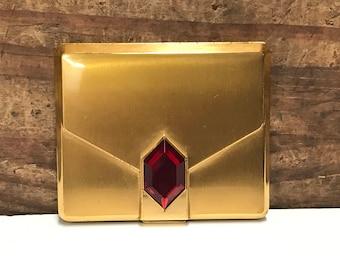 1940's Elgin American Envelope Compact, Jewel Embellishment, Vintage Gold Compact, Vintage Elgin Compact, Vanity Compact