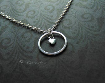 The Original Captured Heart. Silver Locking Day Collar. Handmade Silver O and Tiny Heart. Submissive. Slave.