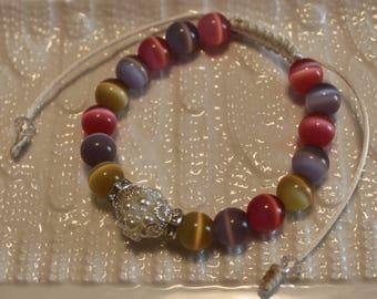 Beautiful Pearl & glass-beaded bracelet; handmade, shamballa, beadweaving, cute, yellow, pink, grey