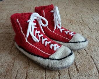 Handmade Socks-Knitted Slippers-Knitted Socks-Knitted Boots-Bed Socks-Winter Boots-House Slippers-Red Boots-Sleeping Socks