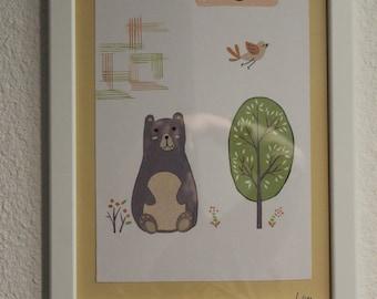 poster still bears for child's room handmade watercolor ink