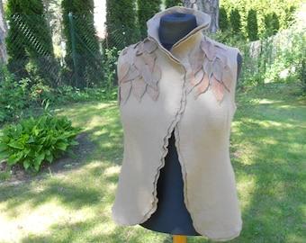 Felt waistcoat Beige vest with application of leaves Wool Designer vest Women Felted vest  Felt clothing Handmade wool vest Eco clothing